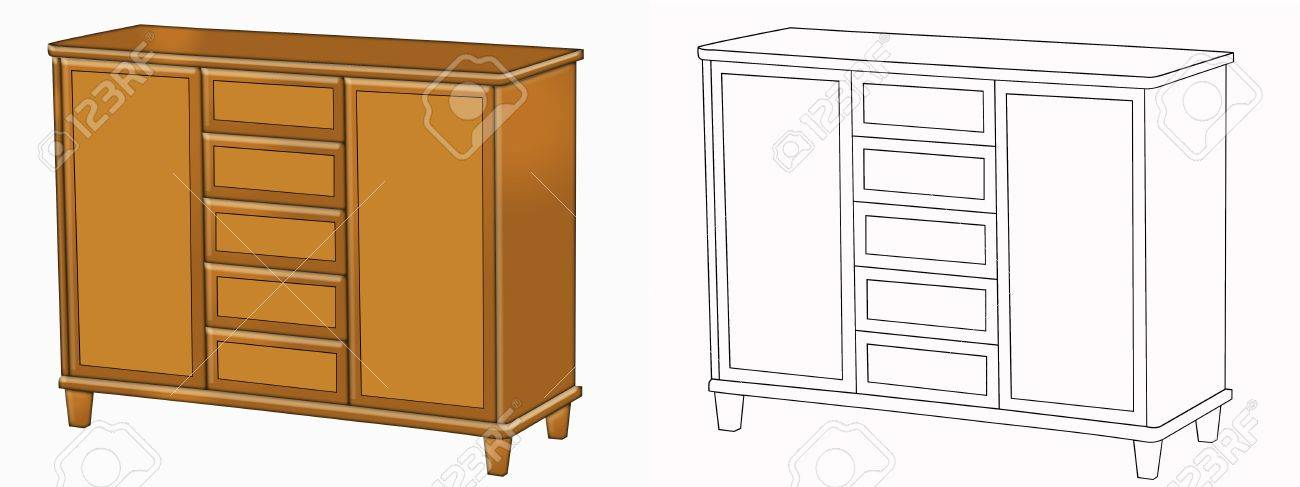 Color illustration of the commode isolated on white Stock Illustration - 3591613