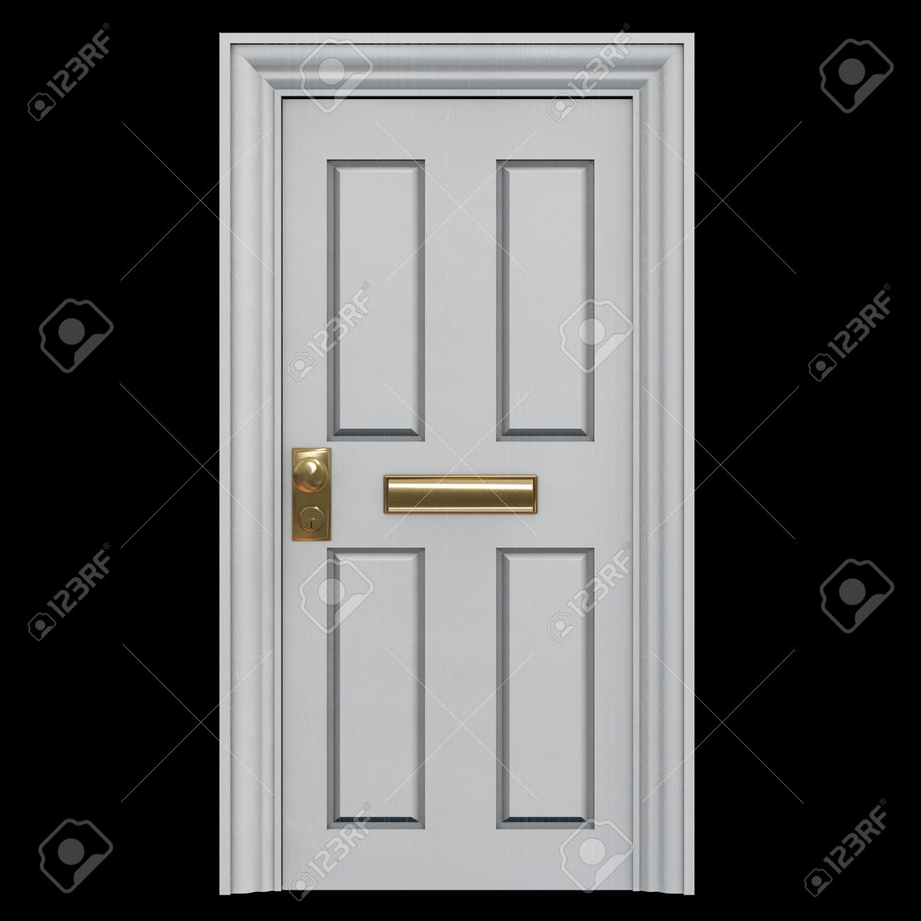 Illustration - White Door to a house with a mail slot. 3D Illustration. Graphic Element. & White Door To A House With A Mail Slot. 3D Illustration. Graphic ...