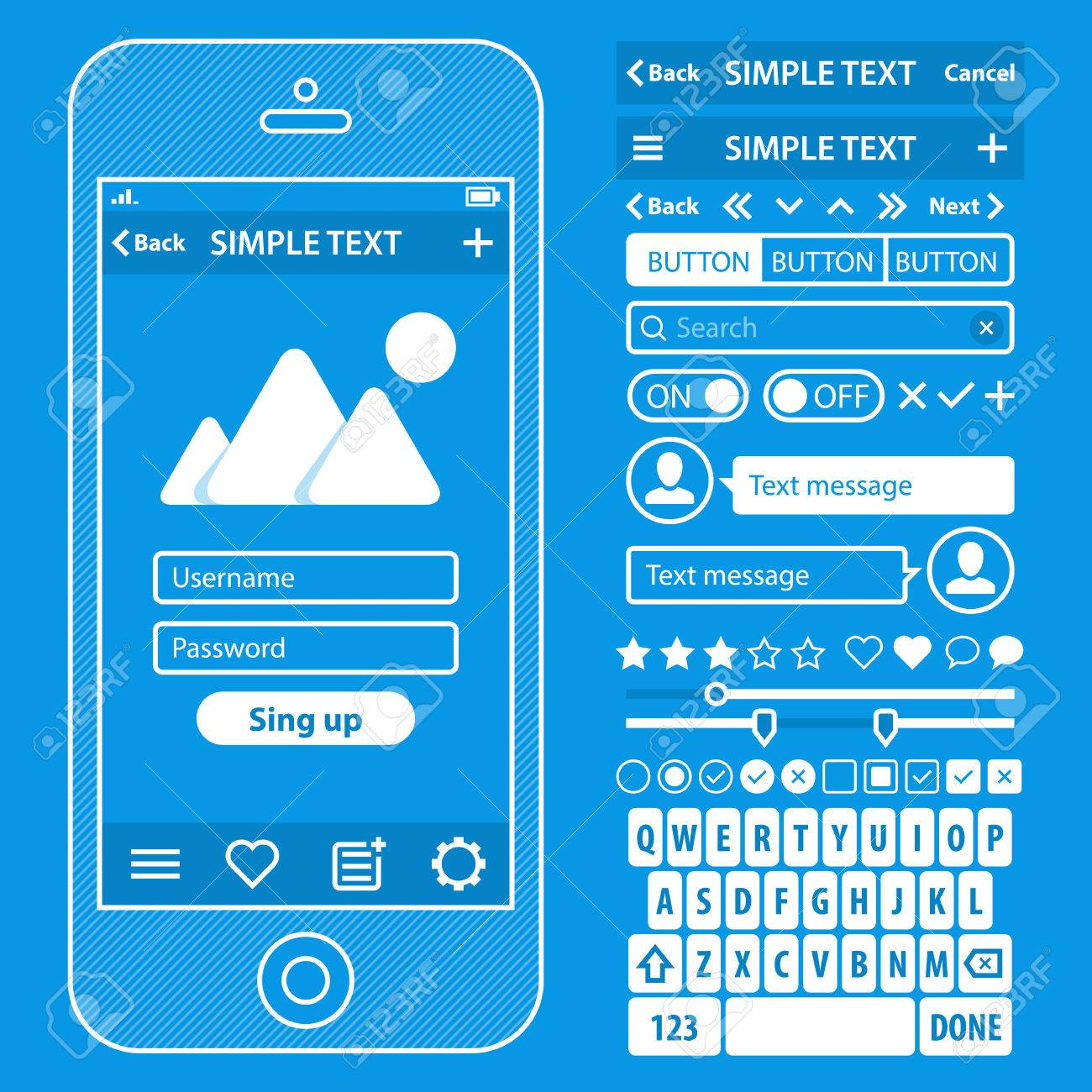 Ui elements blueprint design vector kit in trendy color with ui elements blueprint design vector kit in trendy color with simple mobile phone buttons malvernweather Image collections