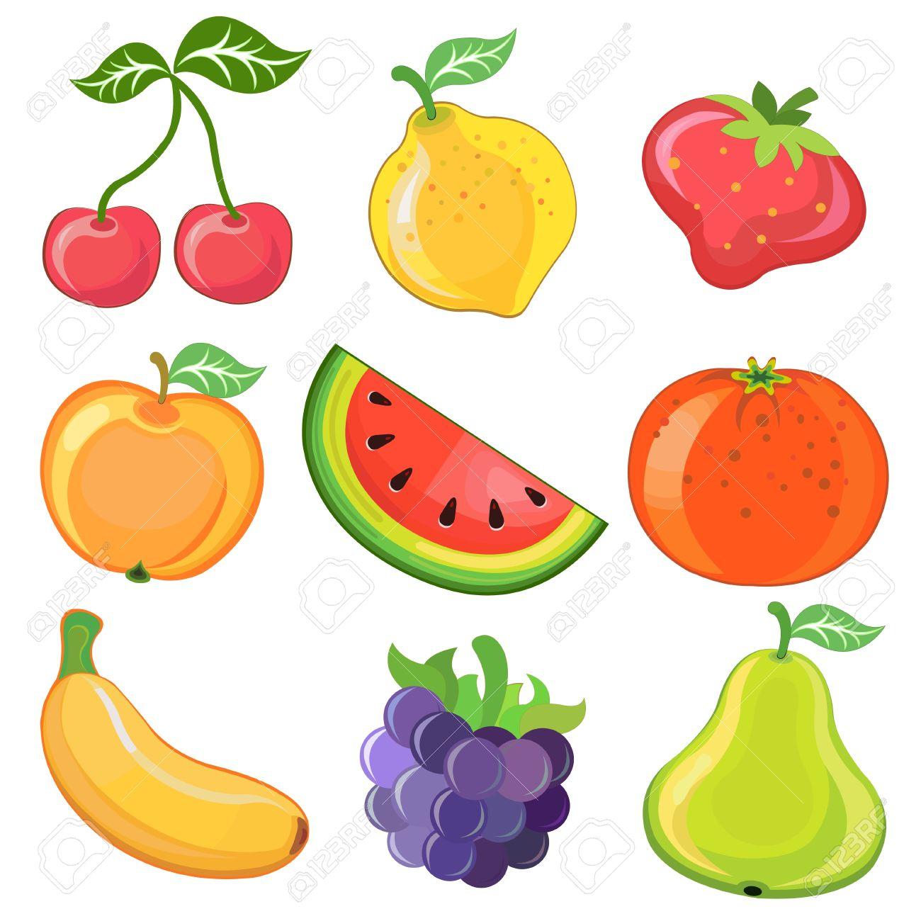 illustration of juicy cartoon fruits - 17086712