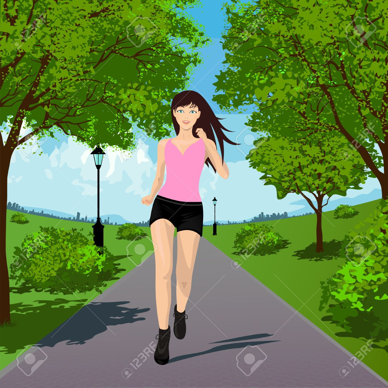 Woman Running in the Park. Vector illustration Stock Vector - 17807320