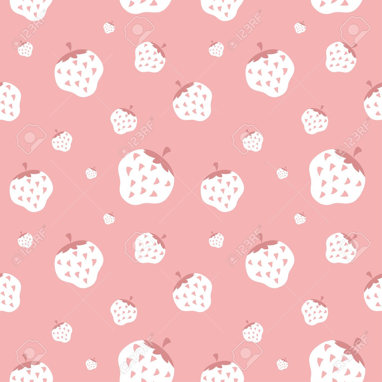 Creamy Strawberry Wallpaper Background Stock Vector