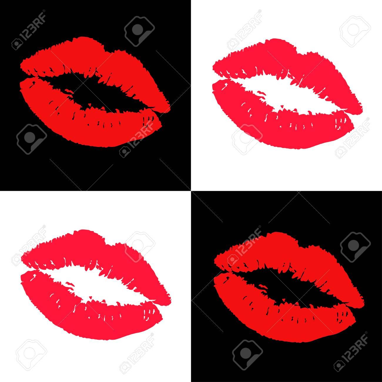 lipstick kisses design elements Stock Vector - 18995153