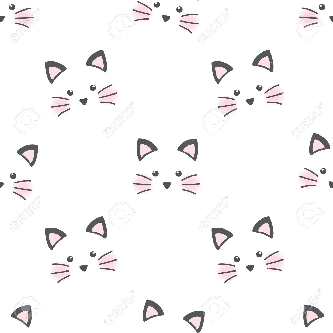 Cute Cat Face Seamless Wallpaper Royalty Free Cliparts Vectors