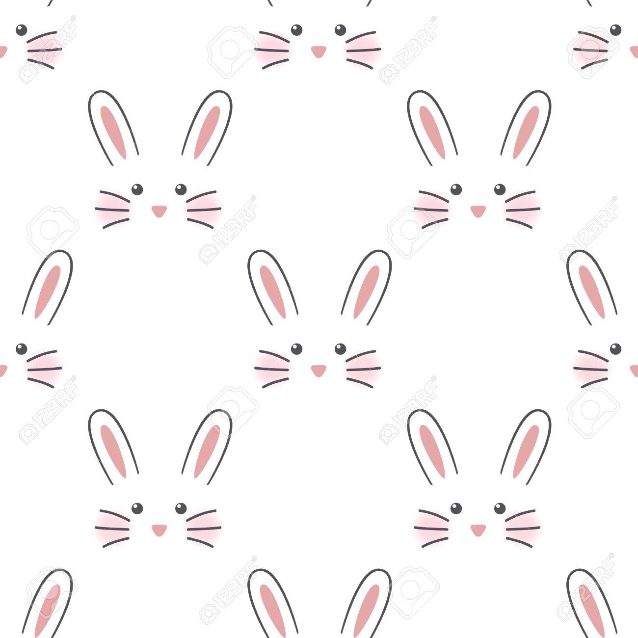 かわいいウサギの顔 シームレスな壁紙のイラスト素材 ベクタ Image