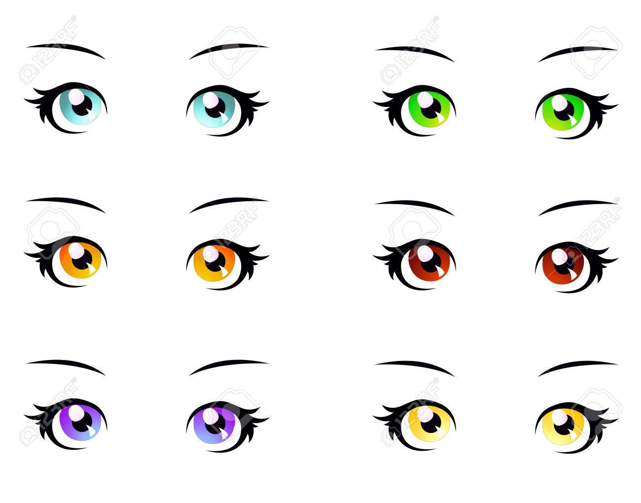 A set of eyes in manga style, isolated on white, eps10 vector format - 55967498