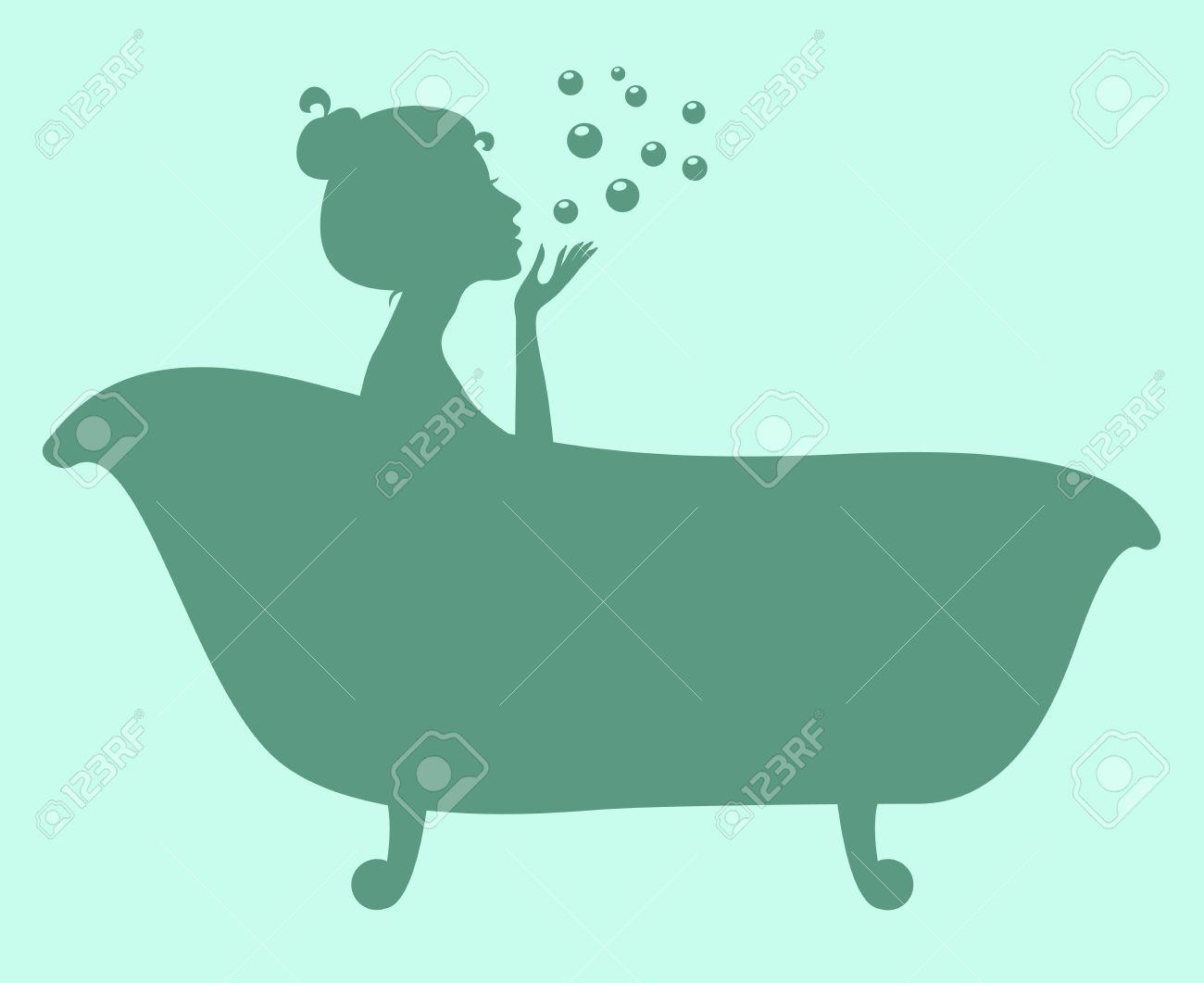 Woman in bathtub. Silhouette - 56939660
