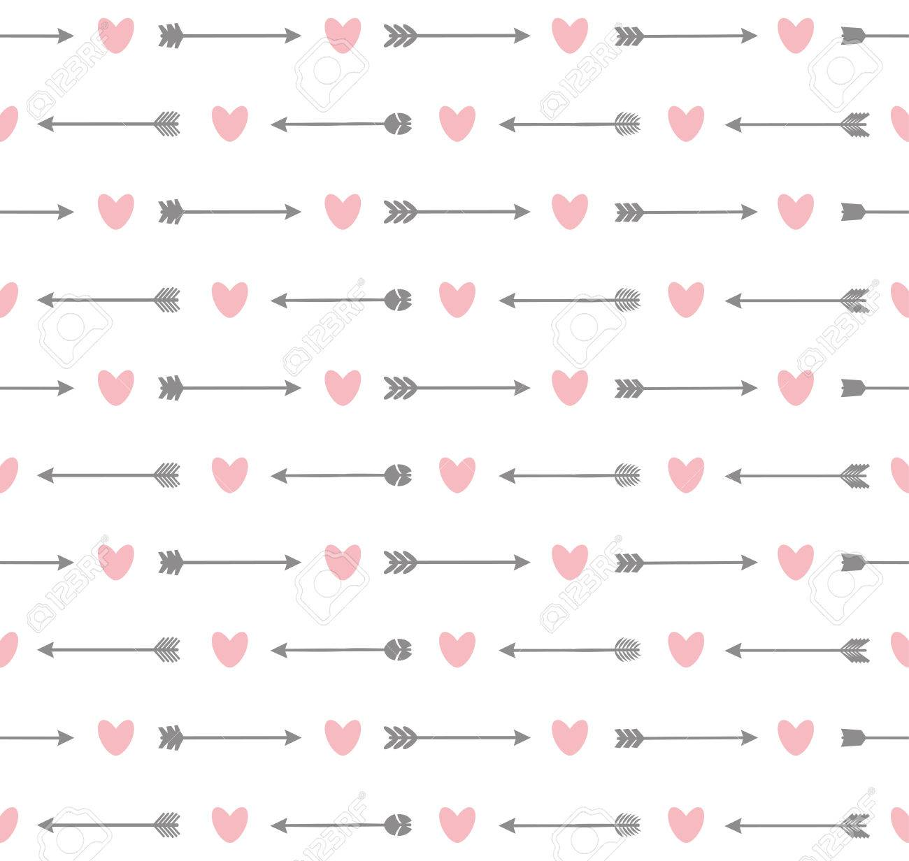 Cute seamless pattern with arrows and hearts - 56917767