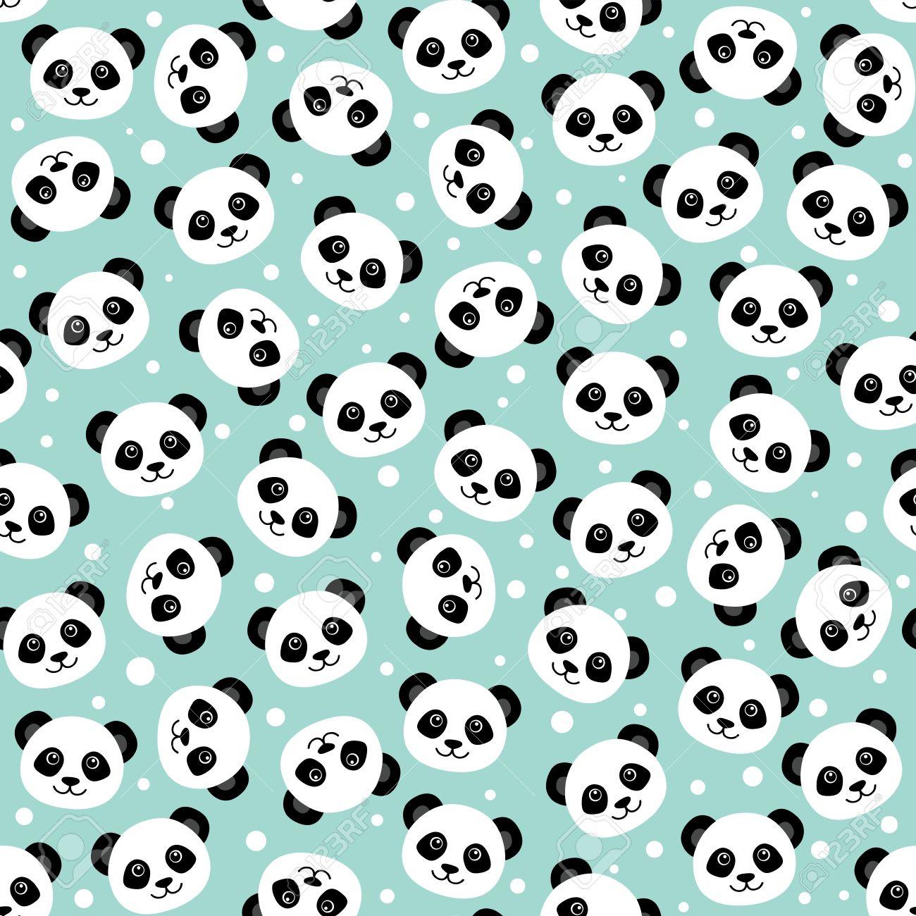 Cute panda face. Seamless cartoon wallpaper Stock Vector - 56918902