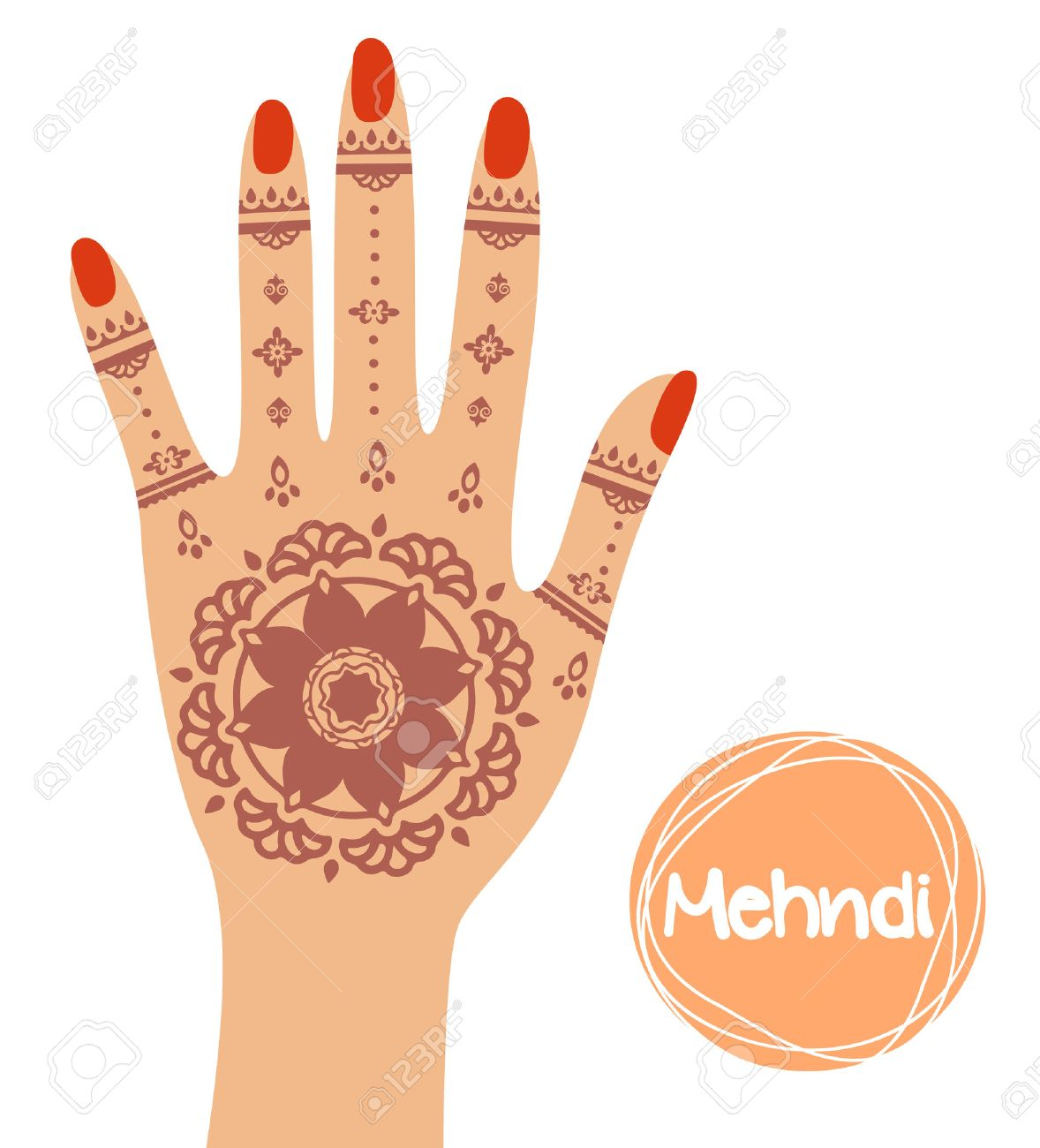 henna tattoo mehandi in hand vector illustration royalty free rh 123rf com Henna Tattoo Henna Drawings Designs