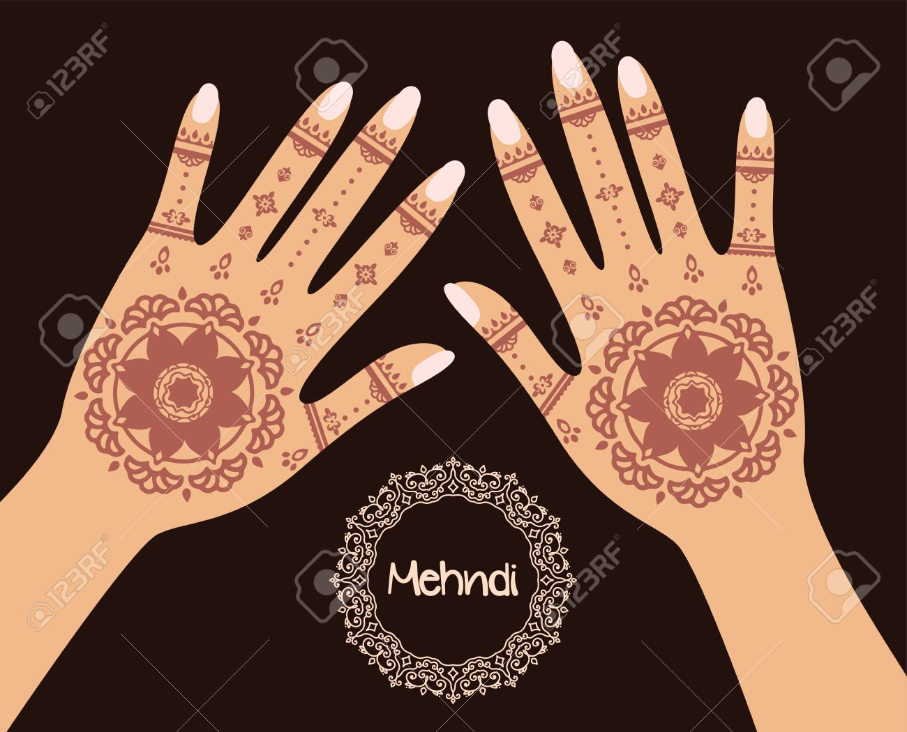 Henna Mehndi Vector Free Download : Henna tattoo mehandi in hand vector illustration royalty free