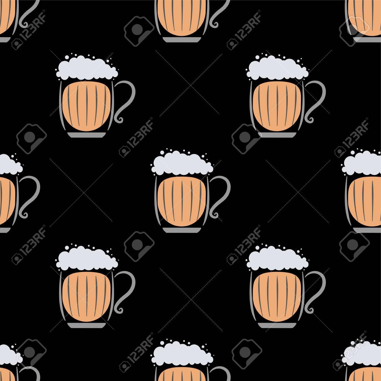 Cartoon Beer Mug Seamless Wallpaper
