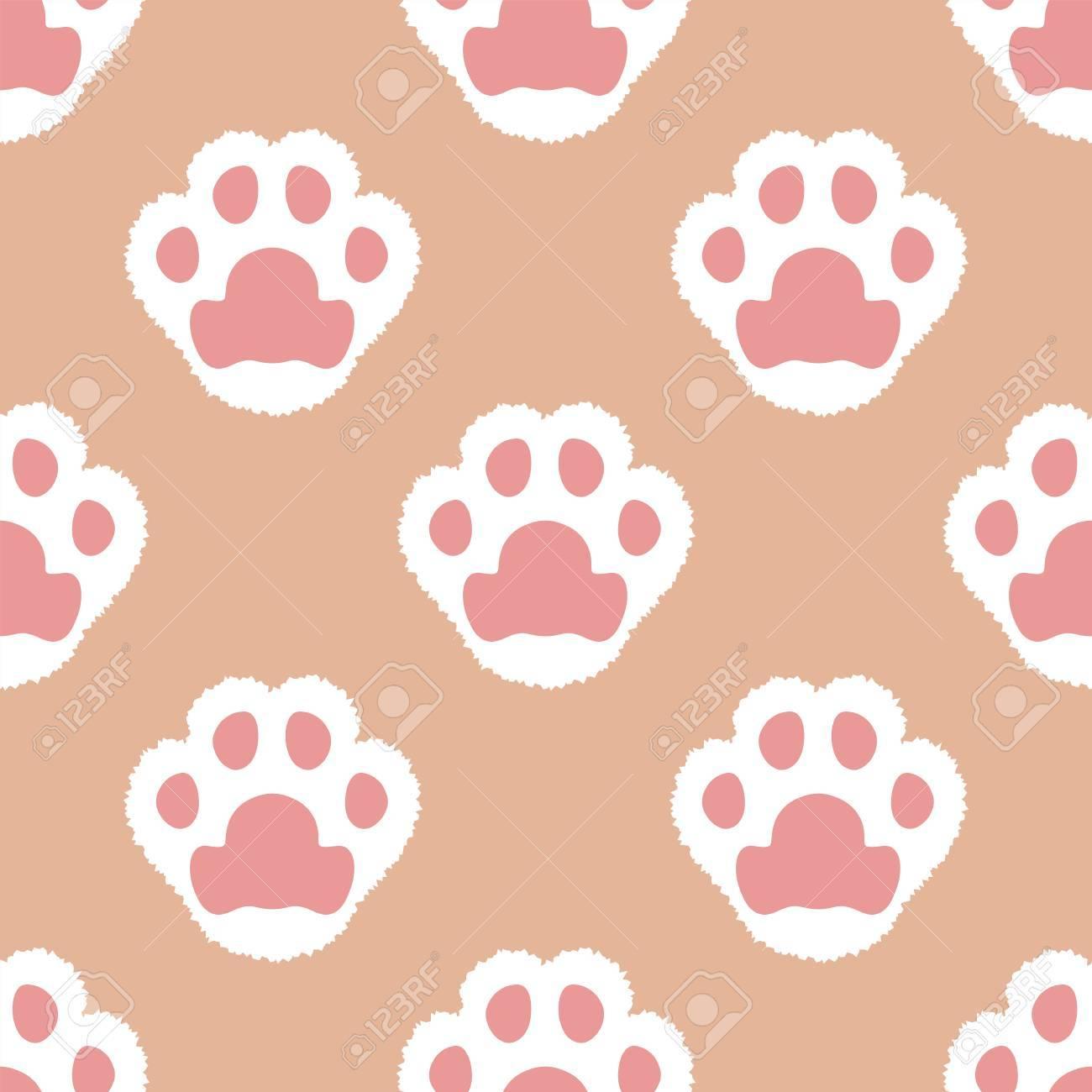 Cat Fluffy Paw Seamless Cartoon Wallpaper