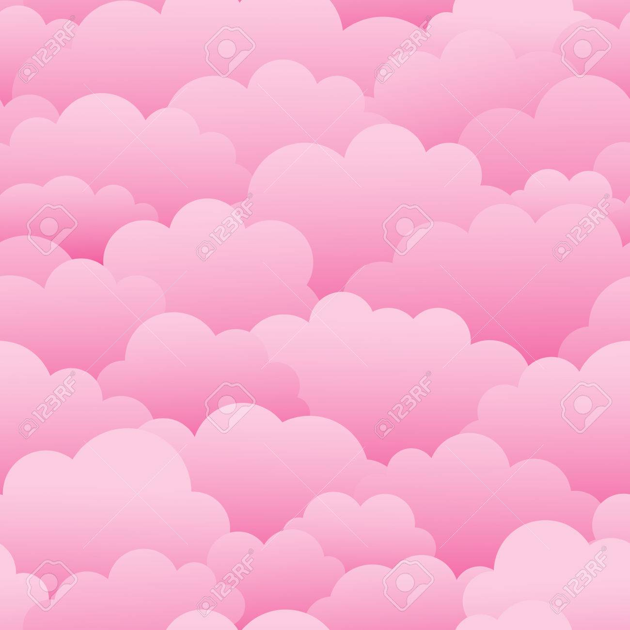 Pink clouds. Seamless vector pattern - 69008225