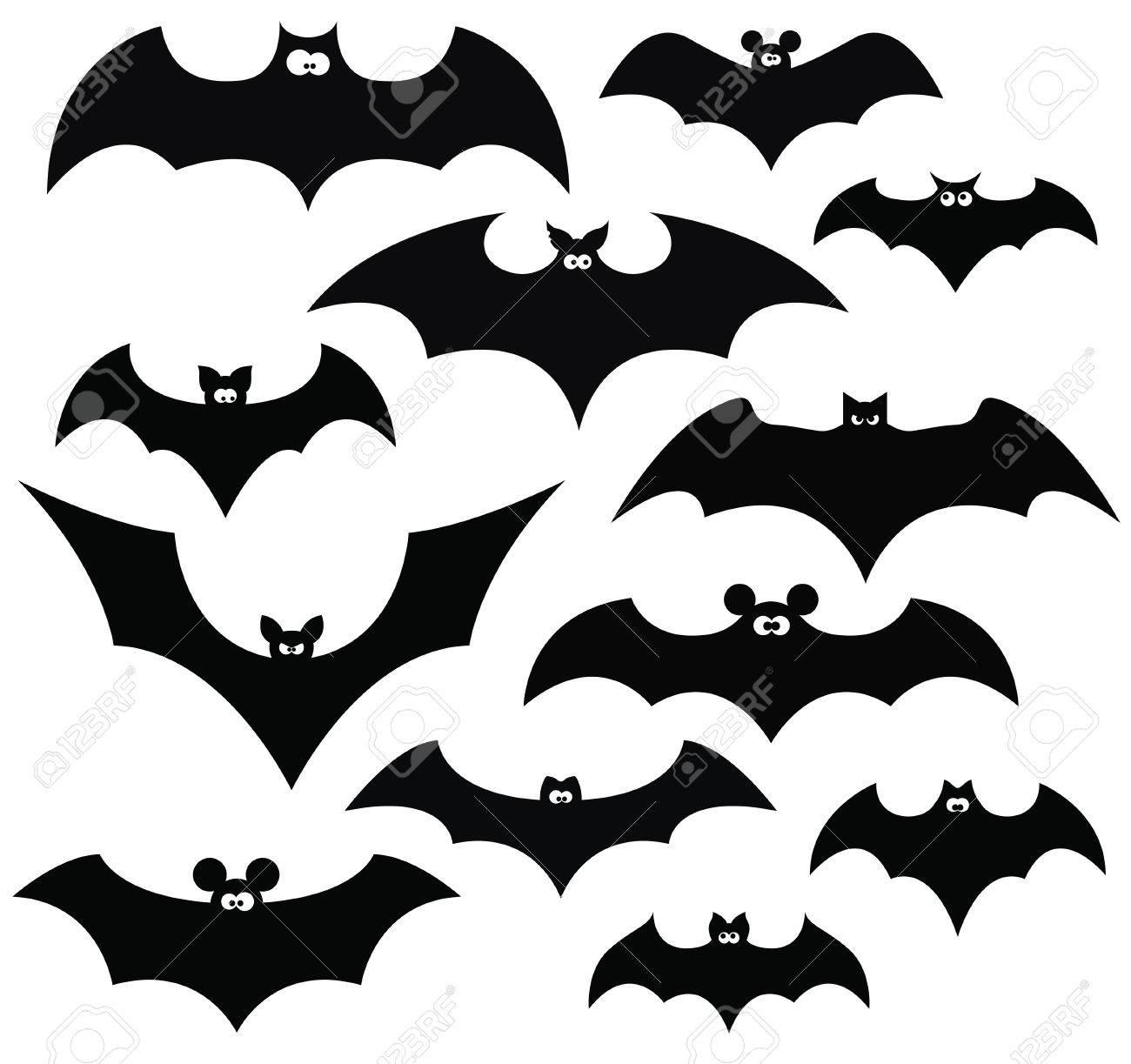 cartoon set of black silhouettes of bats vector royalty free rh 123rf com bats cartoon bat cartoon