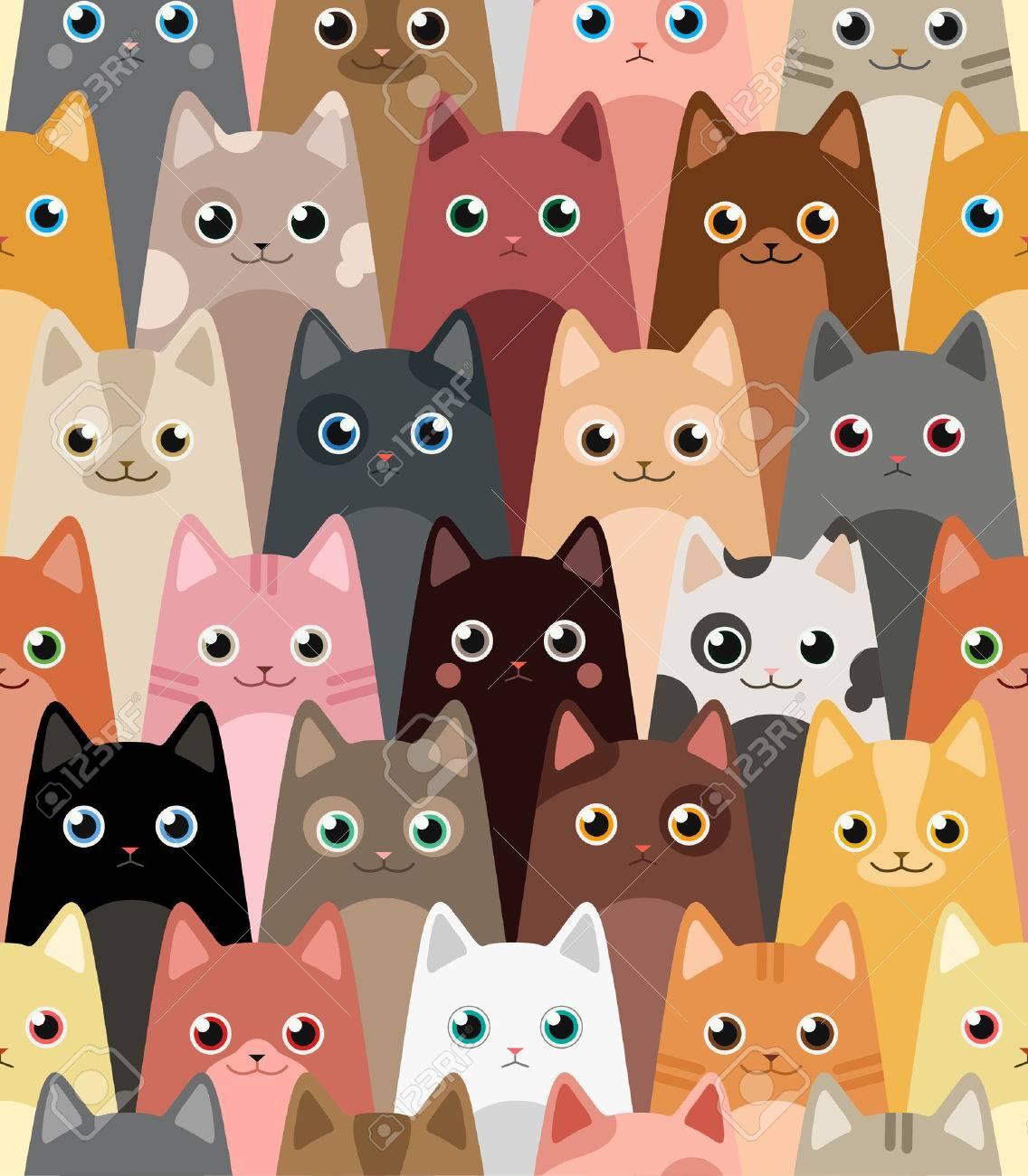Cats Cartoon Vector Seamless Wallpaper Royalty Free Cliparts