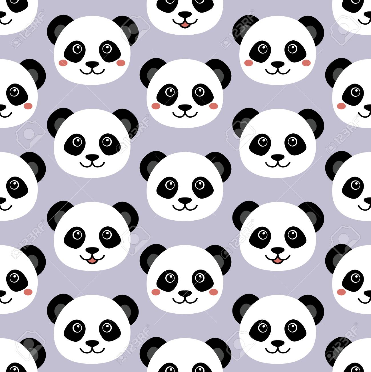 Cute Panda Face Seamless Cartoon Wallpaper Royalty Free Cliparts
