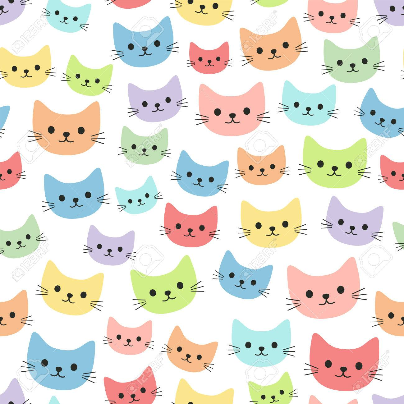 Colorful Cartoon Cats Seamless Wallpaper Royalty Free Cliparts Vectors And Stock Illustration Image 71650431