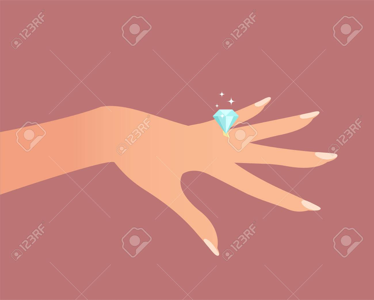 Wedding Ring On Hand. Cartoon Vector Illustration Royalty Free ...
