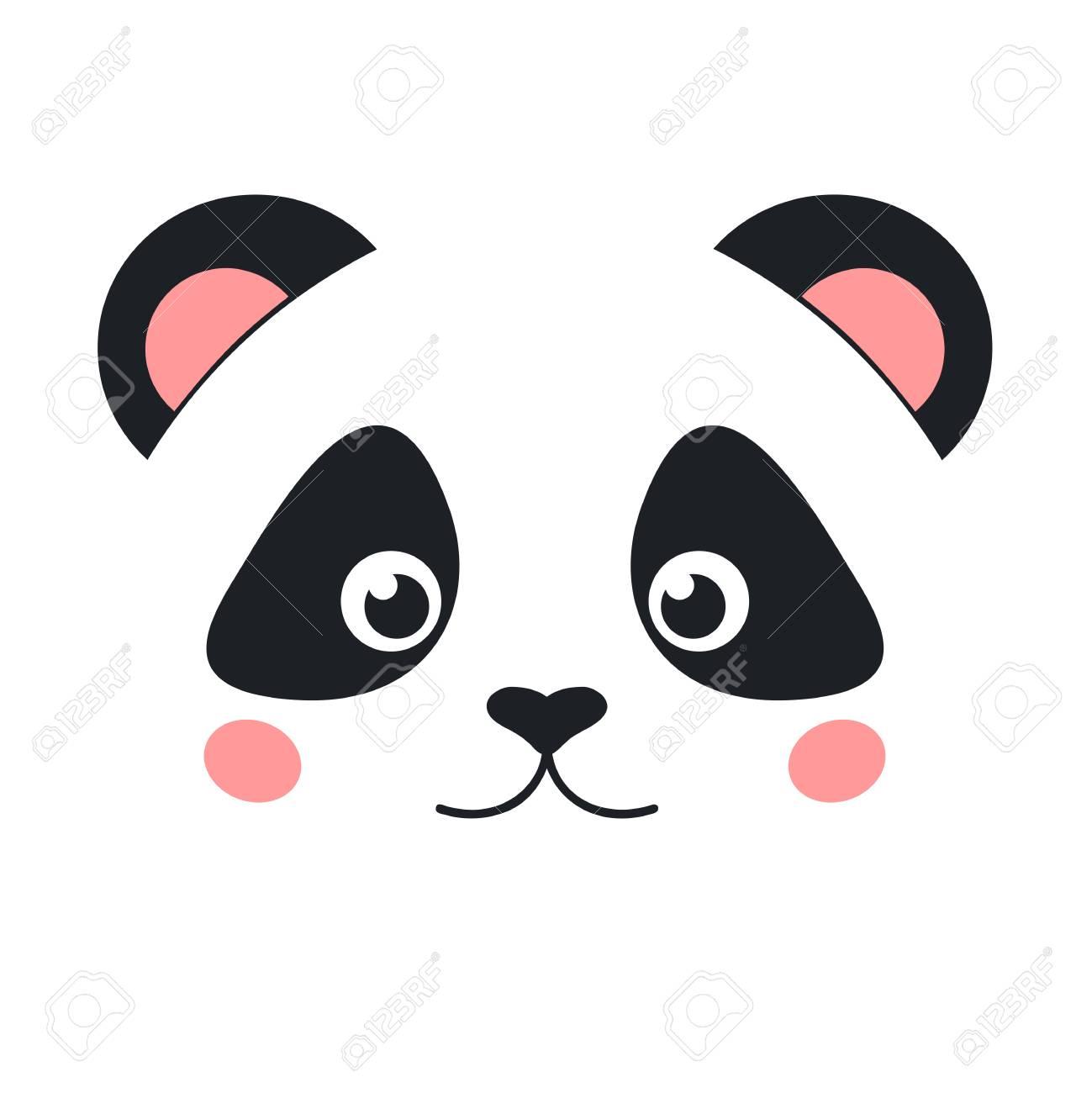 Cute panda face isolated on white background. Flat style - 74943131