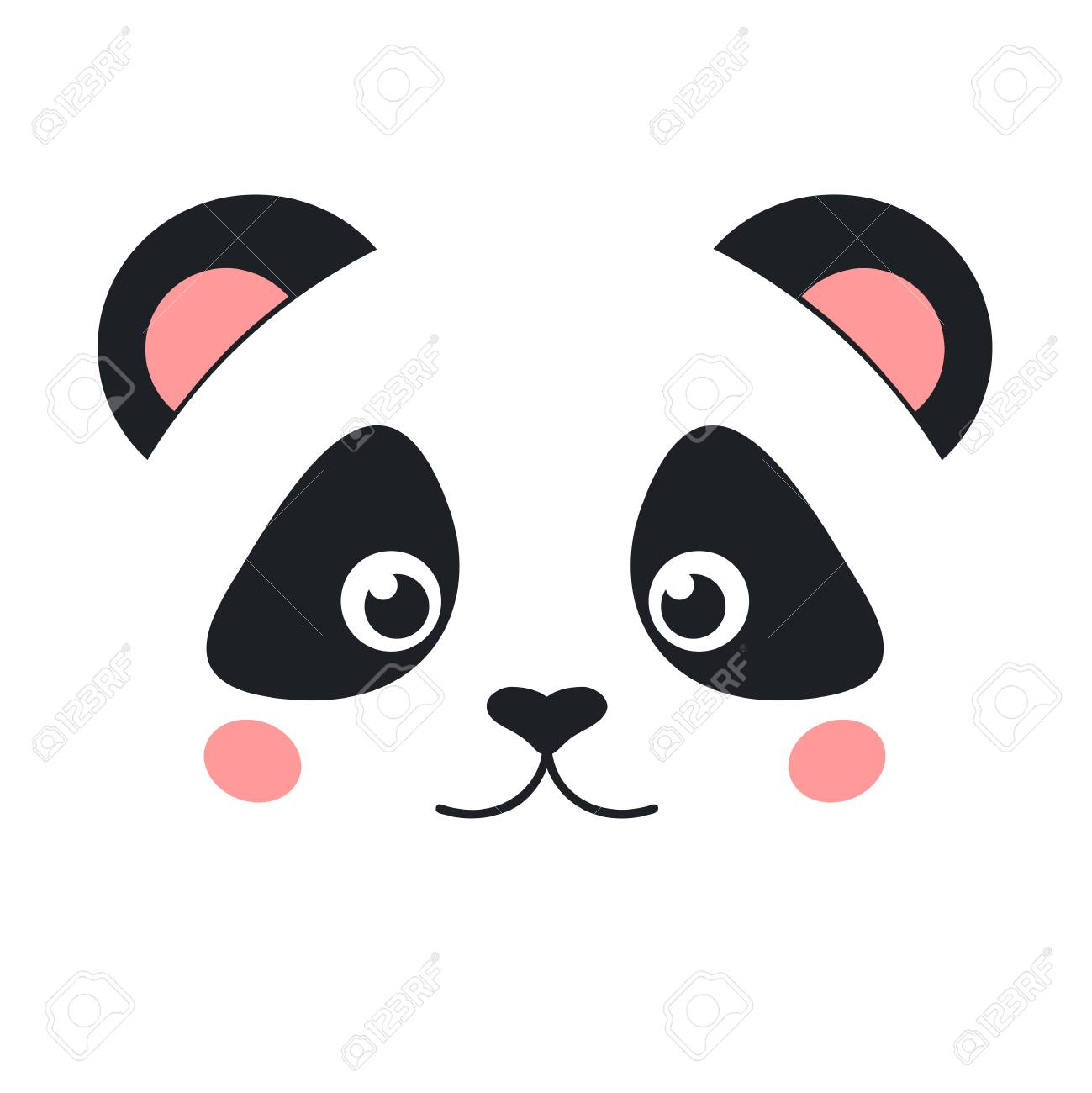 Cute Panda Face Isolated On White Background Flat Style Stock Vector