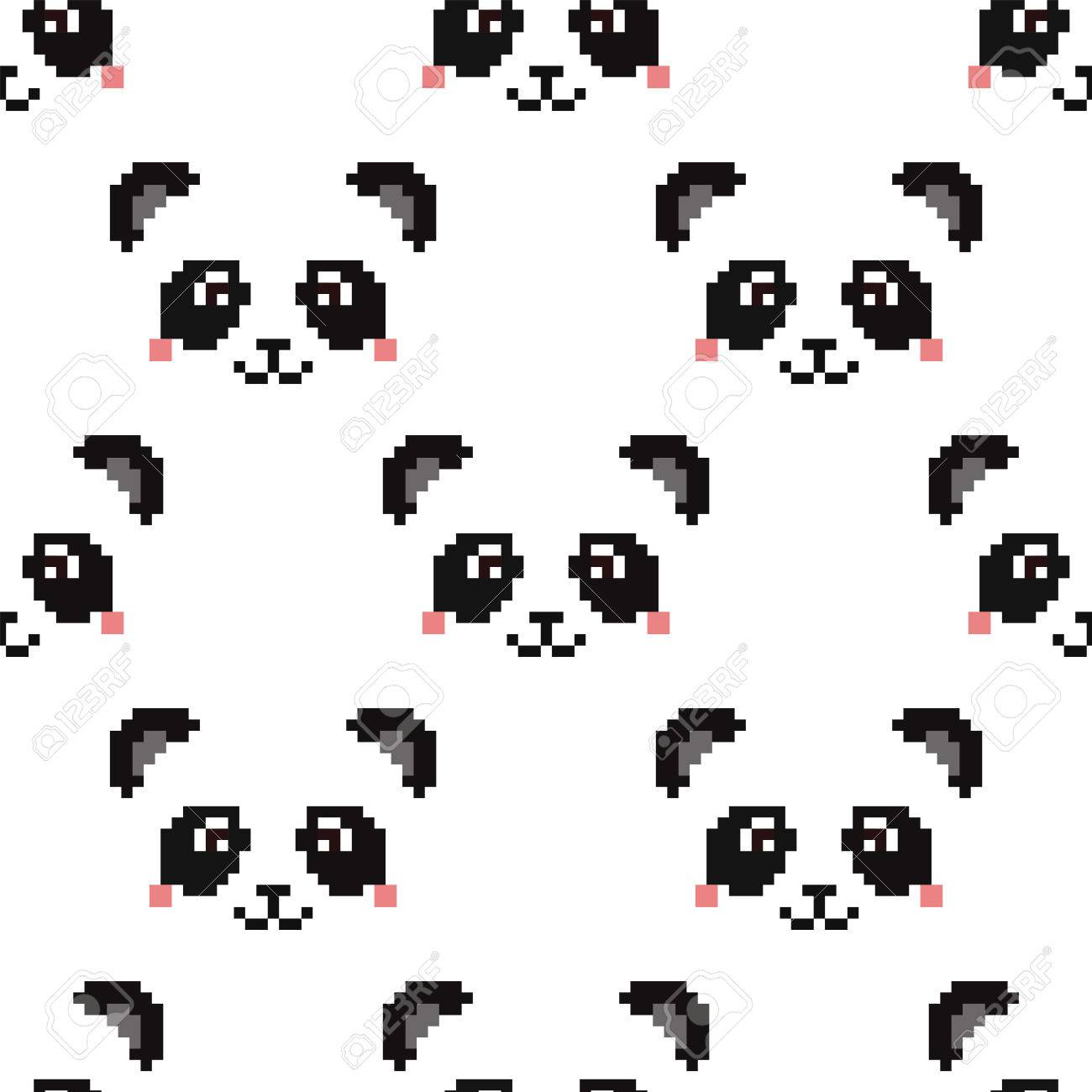 Cute Panda Face Wallpaper Pixel Art Stock Vector