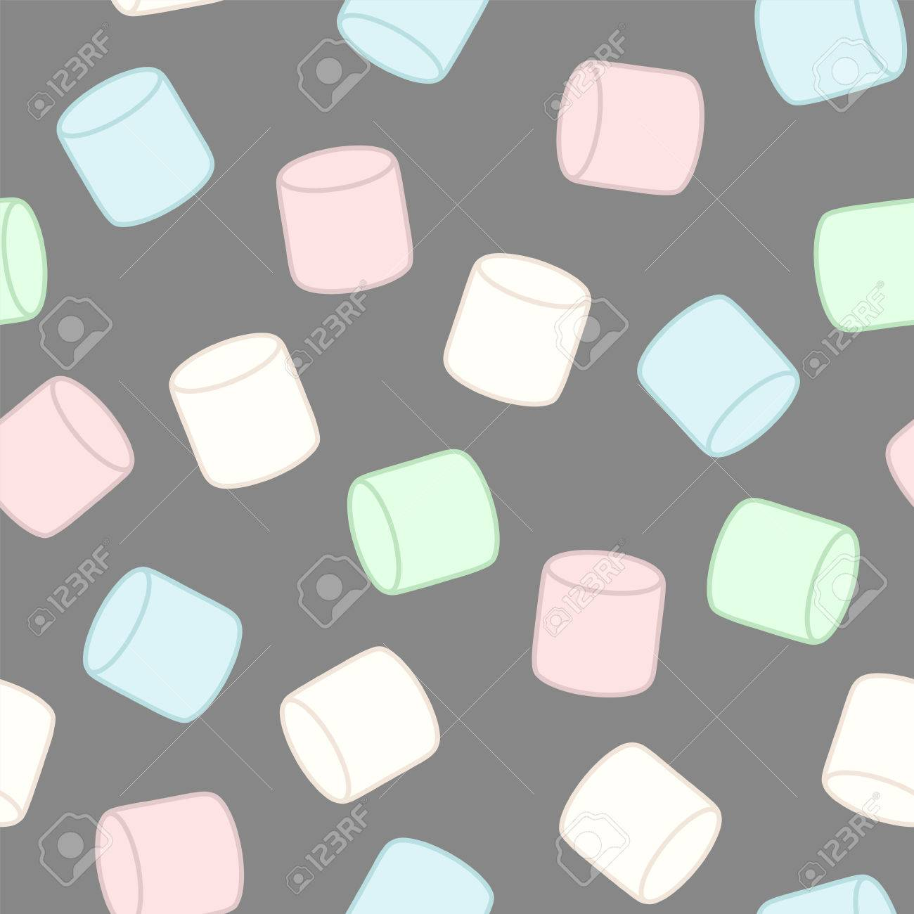 Colorful marshmallow. Seamless vector pattern - 80332899