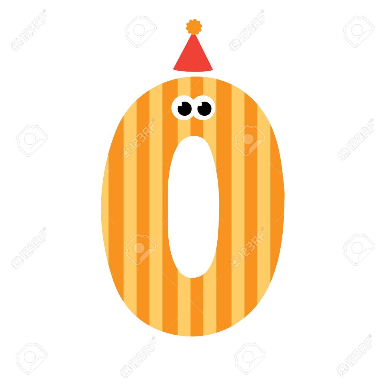 Cute happy birthday number zero. Vector illustration - 140223117