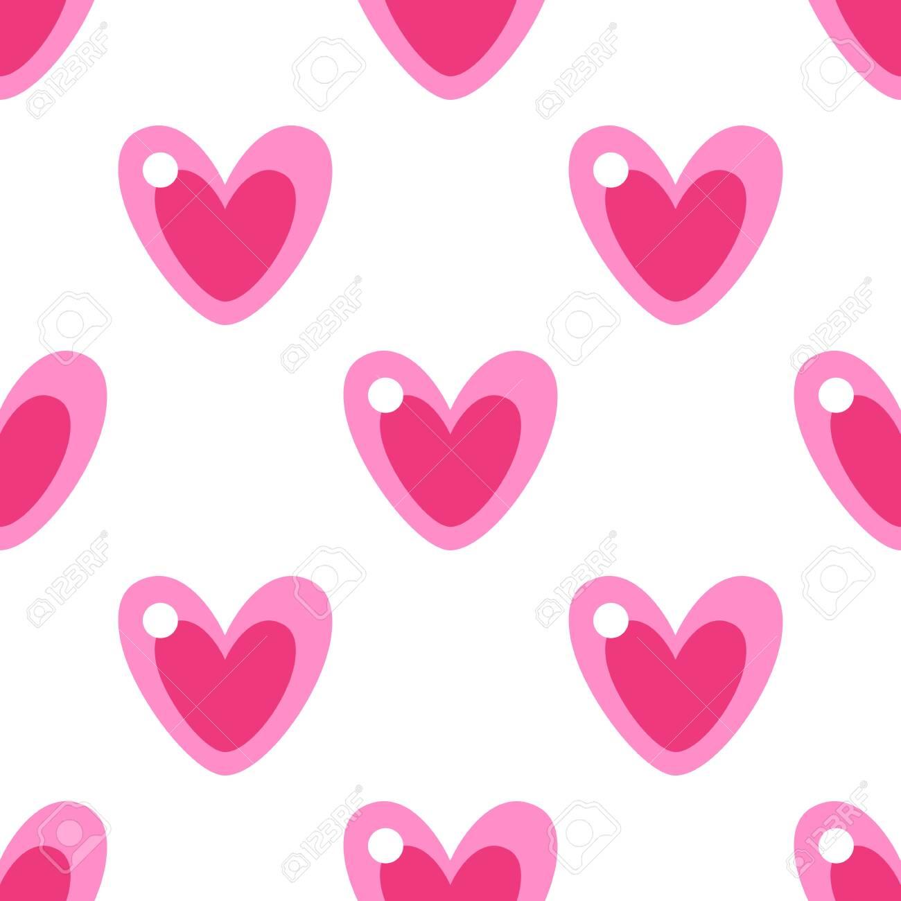 Cute pink cartoon heart seamless vector pattern - 140223118