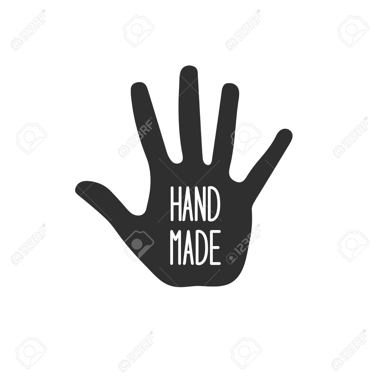 Hand made with hand silhouette on white - 141031908
