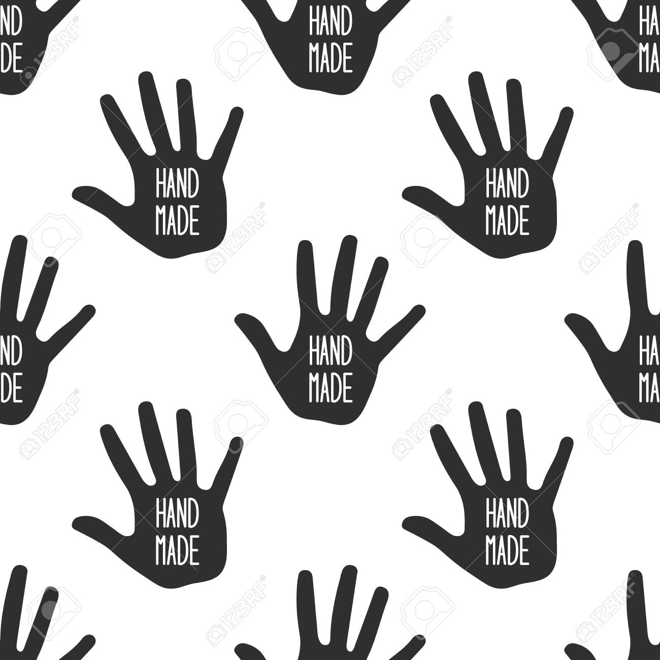 Hand made with hand silhouette on white - 141031911