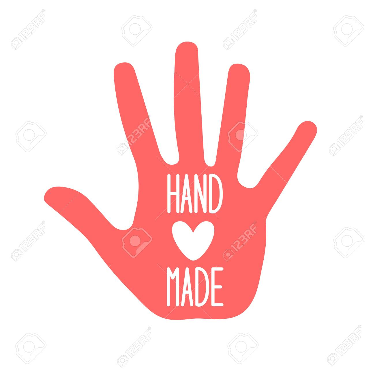 Hand made with heart on white - 141031544