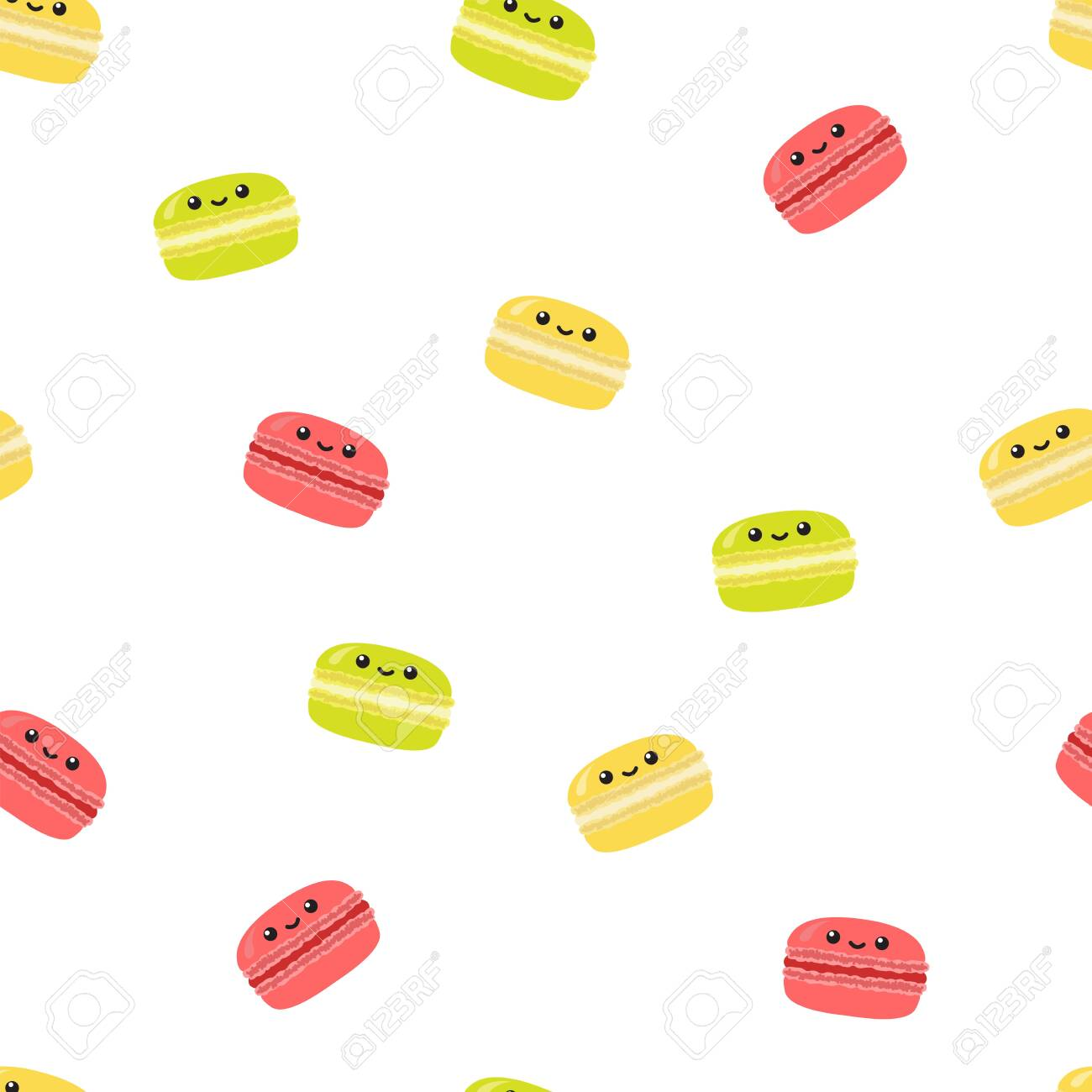 Cute cartoon macaroon. Seamless vector pattern isolated on white background - 148049579