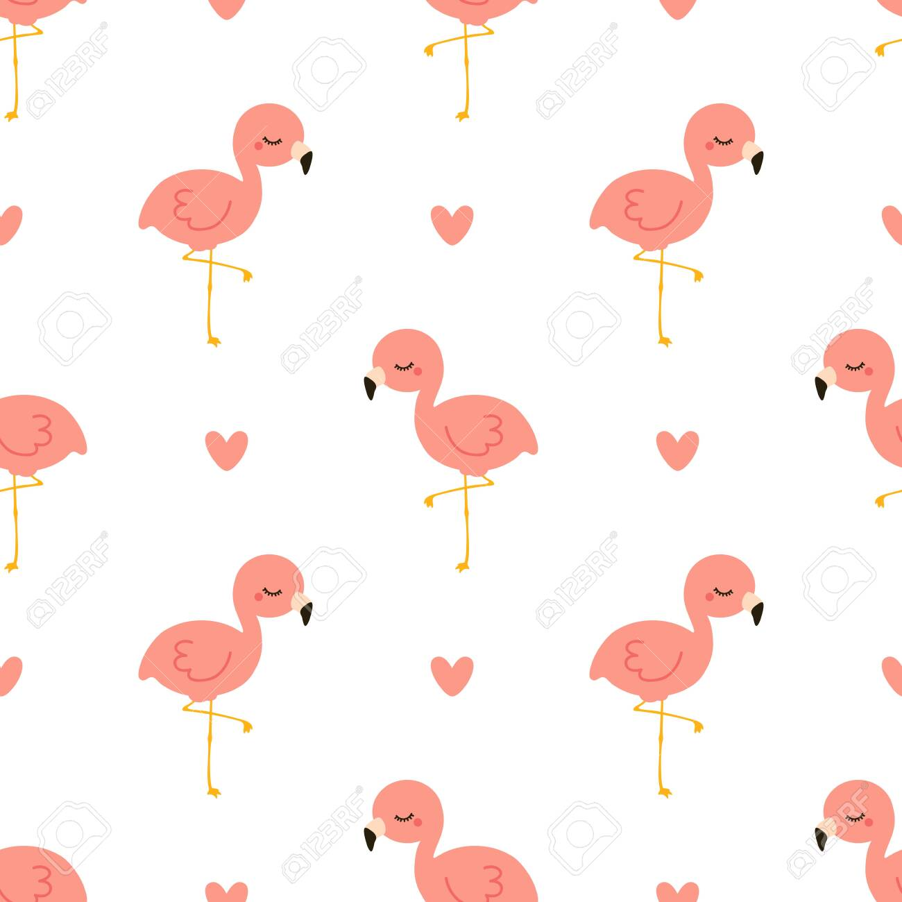 Cute flamingo with heart. Seamless vector pattern - 148049580