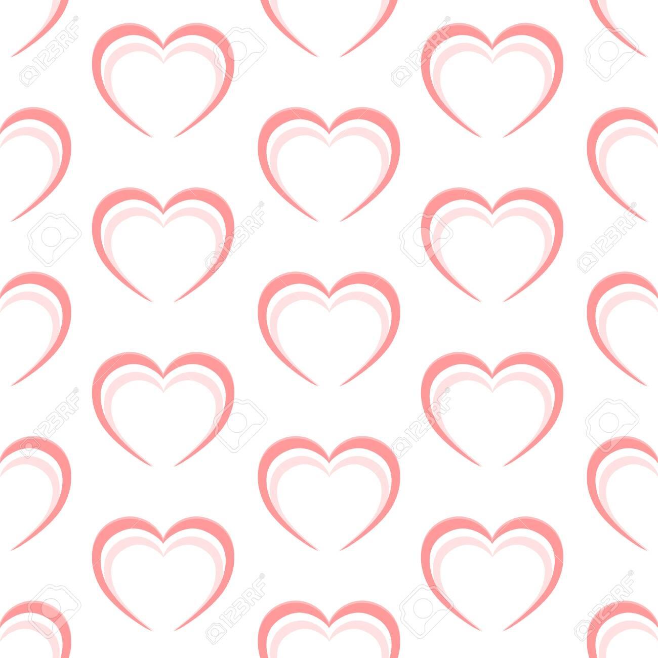 Abstract pink heart seamless pattern. Vector illustration - 143742183