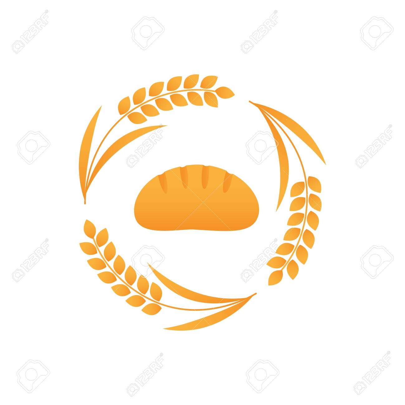 White bread logo vector icon with wheat spike - 143742352