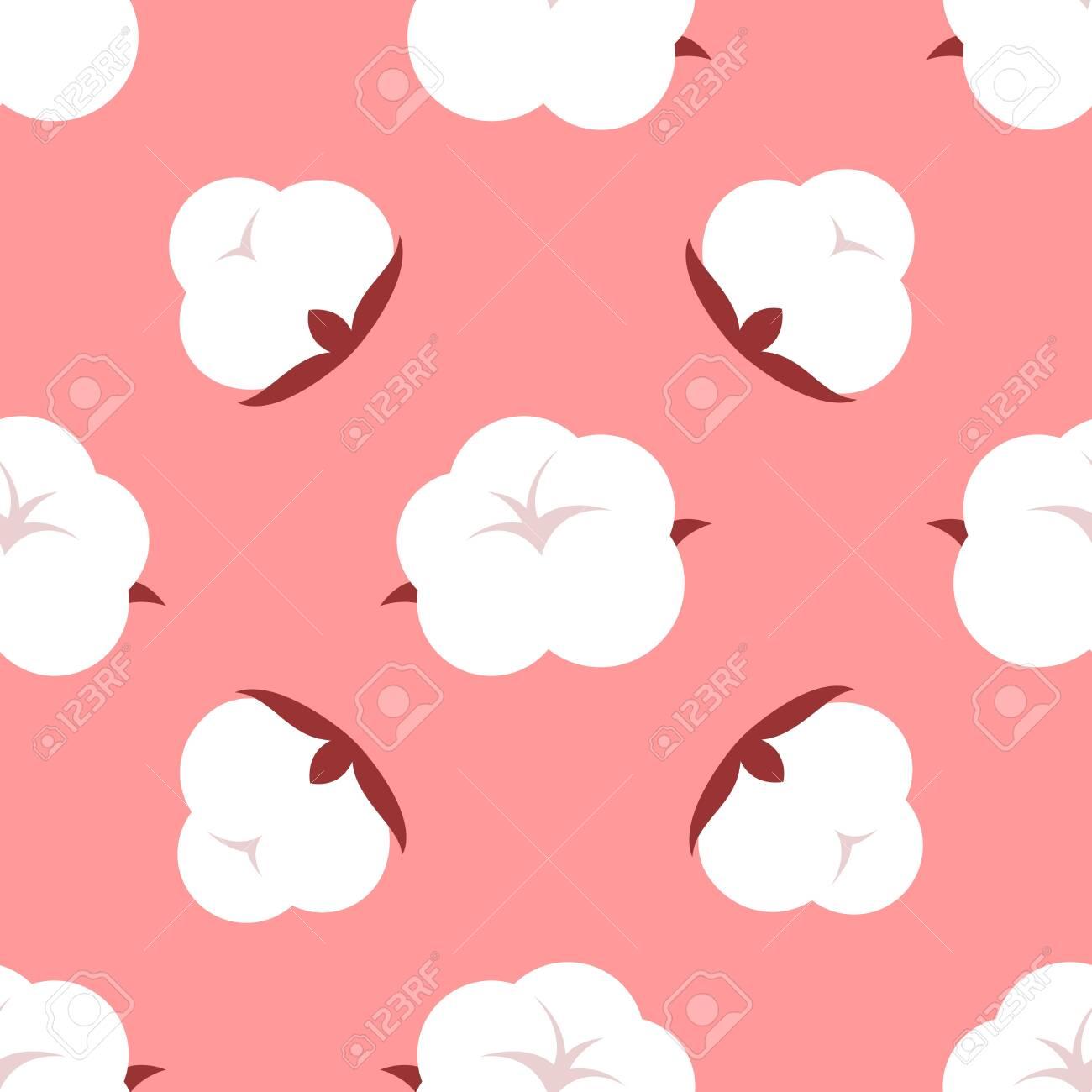 Cute cartoon pattern. Seamless vector illustration with cotton flower - 144797512