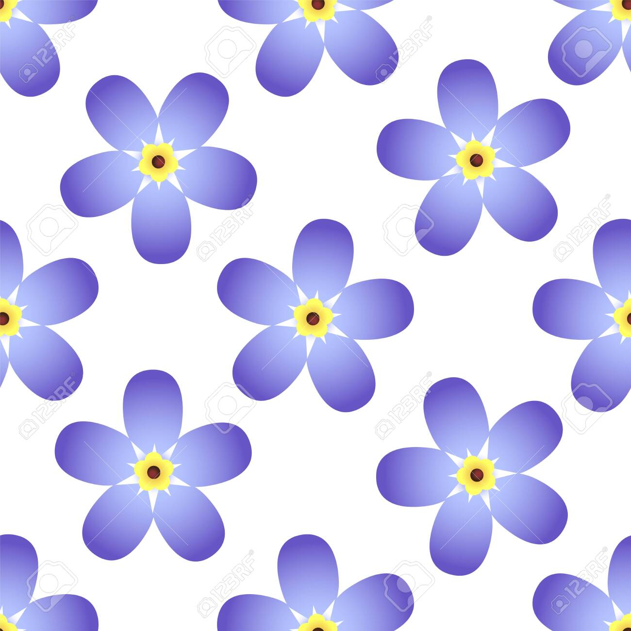 Forget-me-not vector flower isolated on white background. Seamless vector pattern - 144797520
