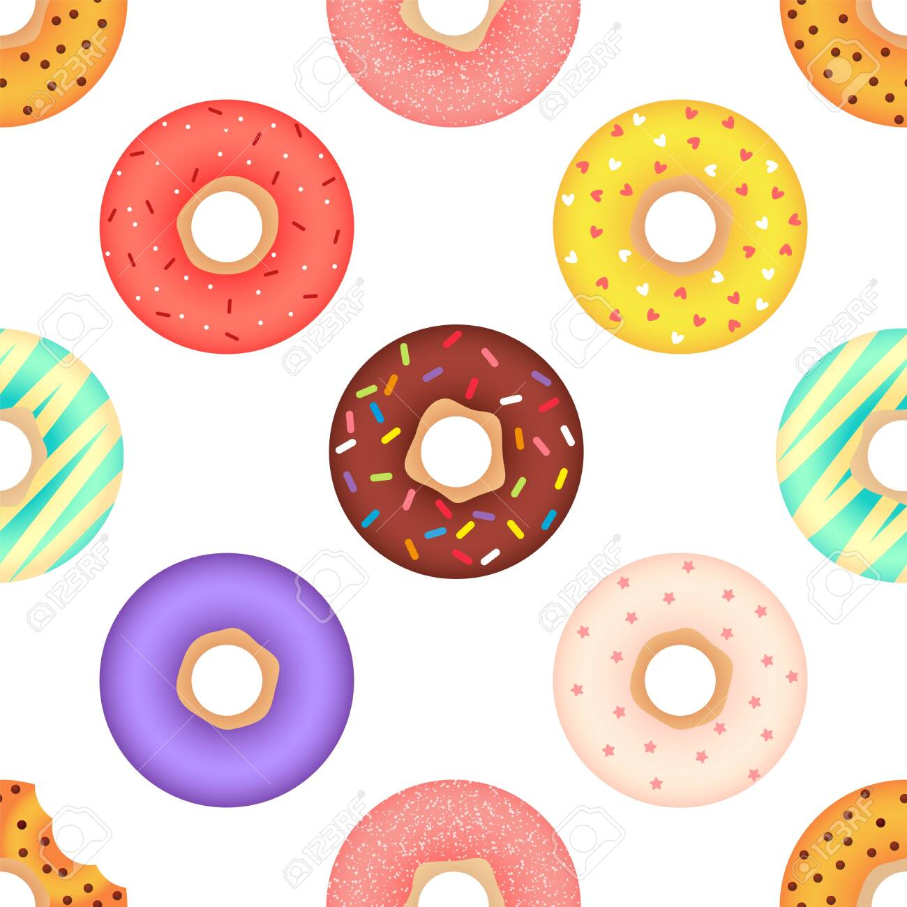 Colorful donuts. Seamless vector pattern isolated on white background - 145027552