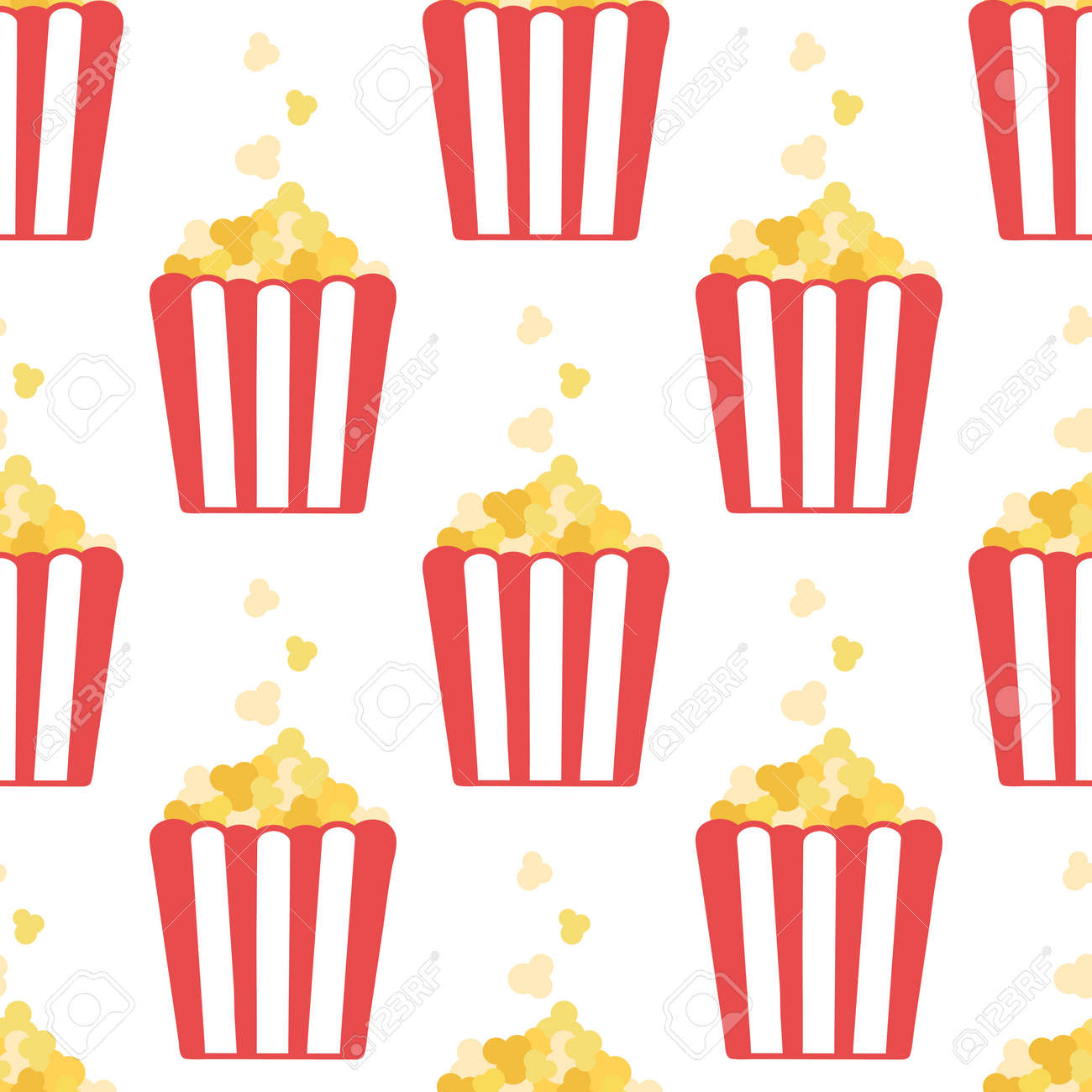 Popcorn. Seamless vector pattern in flat style isolated on white background - 145027567