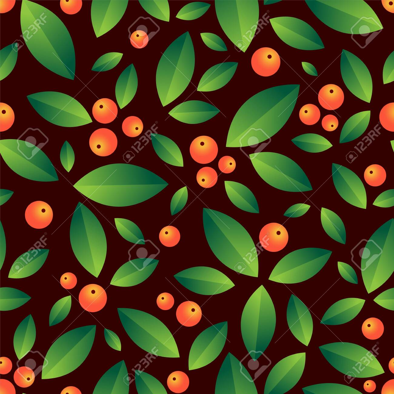 Leaves and berries beautiful seamless vector pattern - 149658413