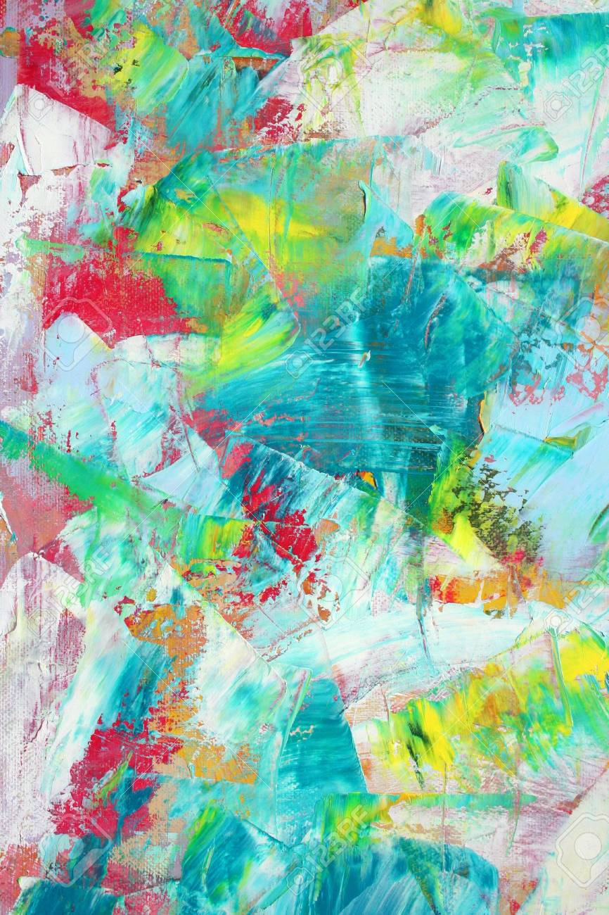 Colorful painted canvas as background. Art is created and painted by photographer. Stock Photo - 4147110