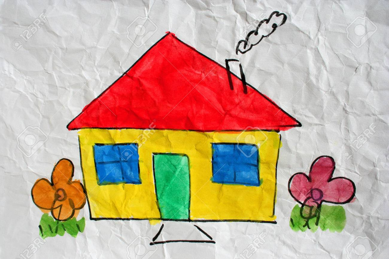 A painting of a home on white wrinkled paper Stock Photo - 4696122