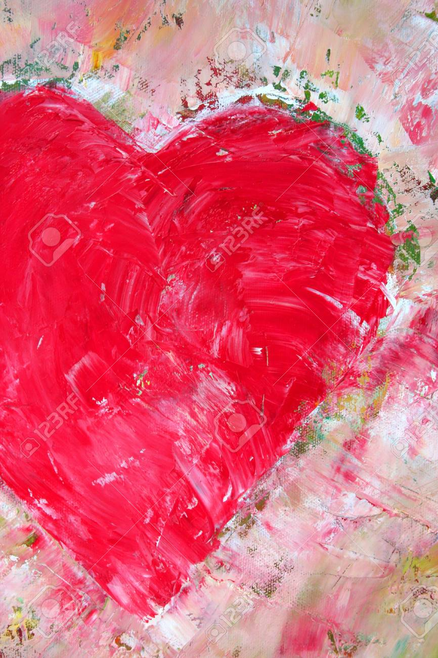 half heart painted canvas as background stock photo picture and