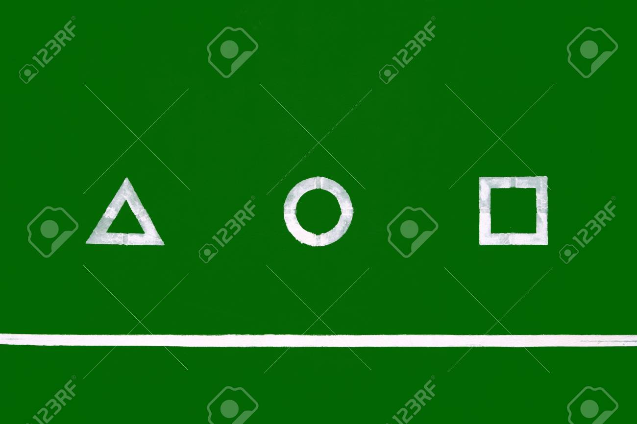 geometry shapes on green board Stock Photo - 7287531