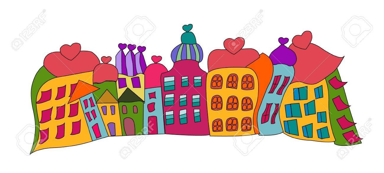 funny prague houses vector over white, resized Stock Vector - 15692739