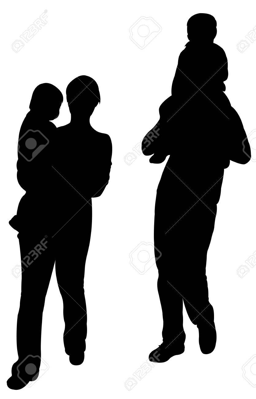 mother father son and baby daughter walking silhouette vector stock vector 24964146