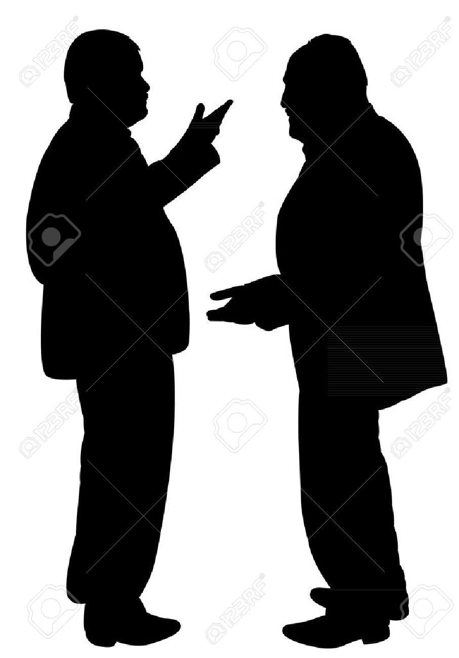 立って、お互いに話している 2 ...