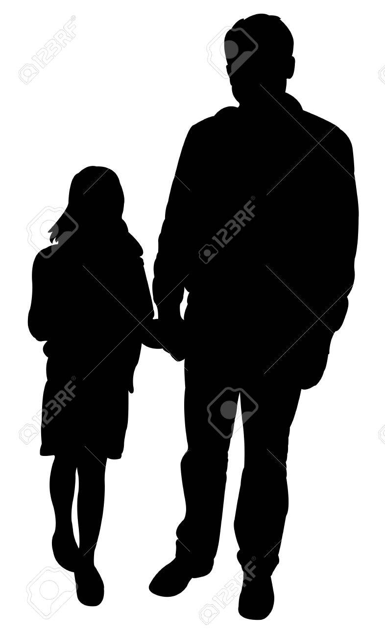 father and daughter together silhouette vector stock vector 40770435
