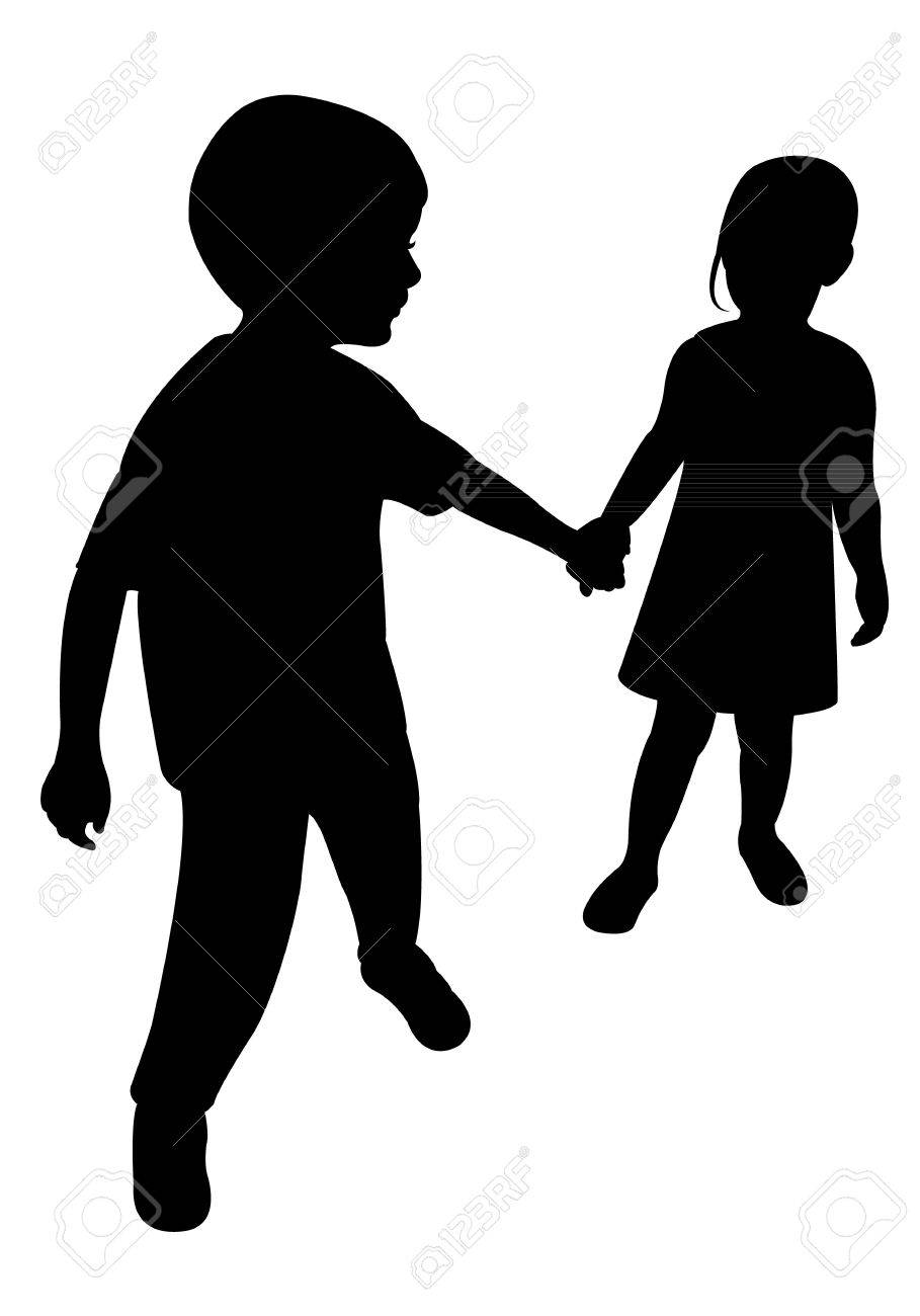 two children silhouette vector royalty free cliparts vectors and rh 123rf com mother child silhouette vector child ballerina silhouette vector